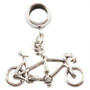 Tandem Bicycle / Bike 3D Sterling Silver Dangle Charm / Carrier Bead